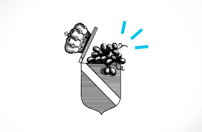 Das klassische Badener Wappen wird mit einem Augenzwinkern neu interpretiert